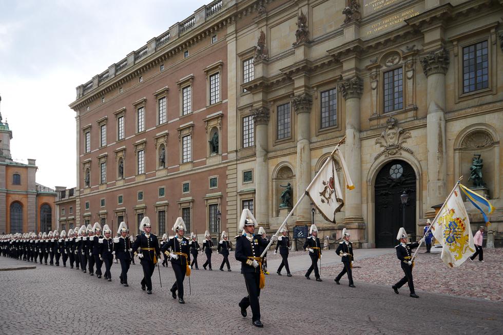 Шведская королевская рать с флагами