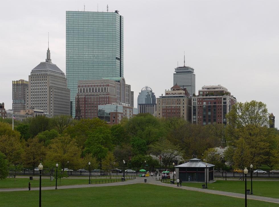 Вид на город из парка.