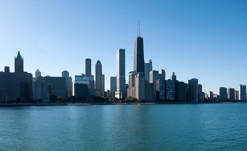 Вид на Чикаго со стороны озера Мичиган