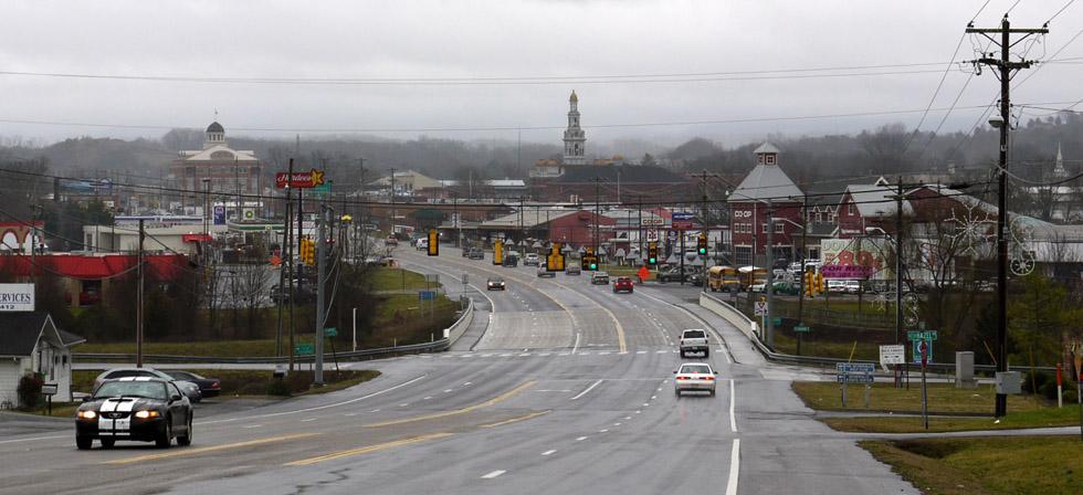 Город со стороны дороги